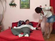 Mature redhead uses his dick